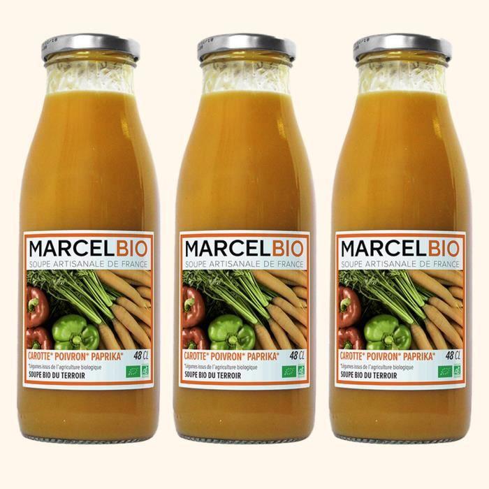 Marcel Bio - Soupe de Carotte Poivron Paprika Bio 48cl - Pack de 3