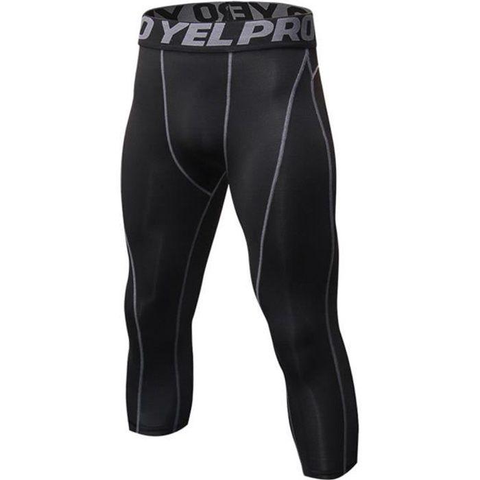 Homme Collant Running Fitness Pantalon de Compression 3-4 Capri Legging Sport Collants Baselayers Noir Gris S