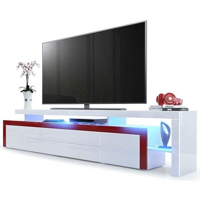 Meuble tv Bordeaux / Blanc laqué 227 cm avec led