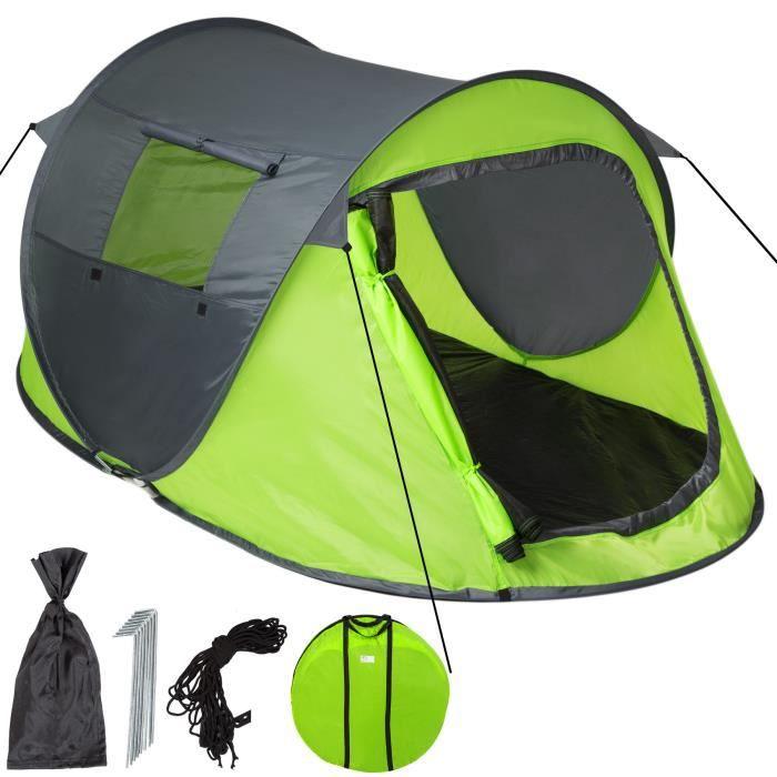 TECTAKE Tente 2 places - gris/vert
