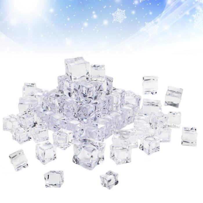 100Pcs 20mm Cube Square Shape Glass Luster Ice Cubes Fake Artificial Acrylic Crystal Clear Photography Props Kitchen FAUX GLACONS