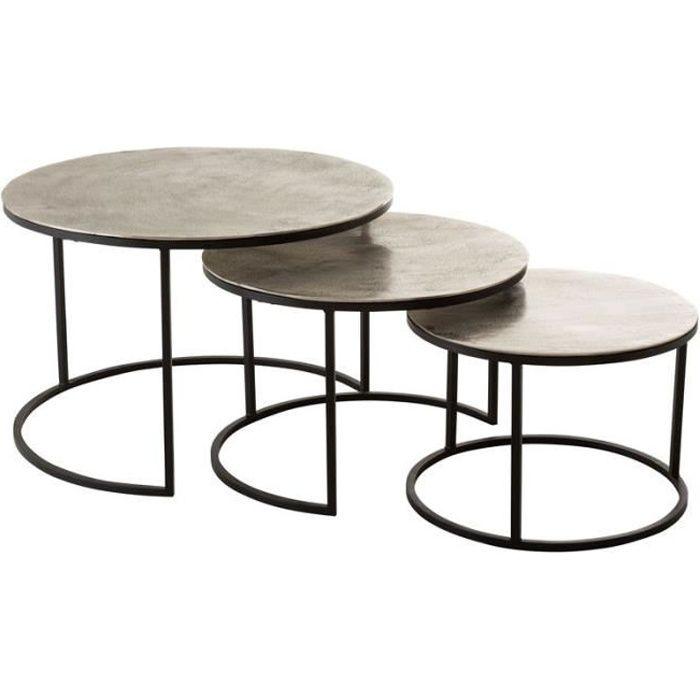 Tables gigognes rondes Métal noir/argent - ZANDVORT - L 80 x l 80 x H 40 cm