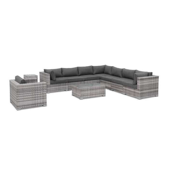 salon de jardin en r sine tress e nuances de gris coussins gris 10 places venezia fauteuil. Black Bedroom Furniture Sets. Home Design Ideas