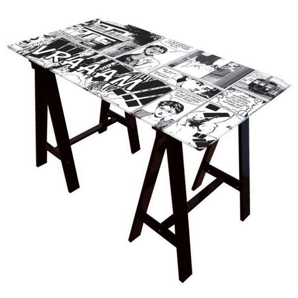 bureau en verre manga pied tr teaux laqu s noir achat. Black Bedroom Furniture Sets. Home Design Ideas