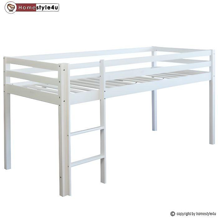 LIT MEZZANINE Lit Simple Blanc 90x200 en hauteur avec echelle
