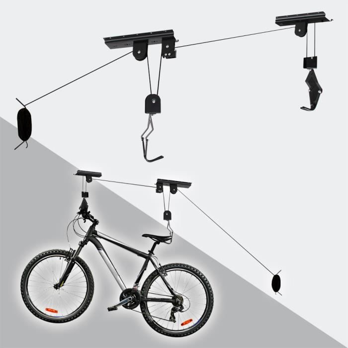 Support Lève Vélo de Plafond Fixations et Crochet Ascenseur Bicycle Neuf
