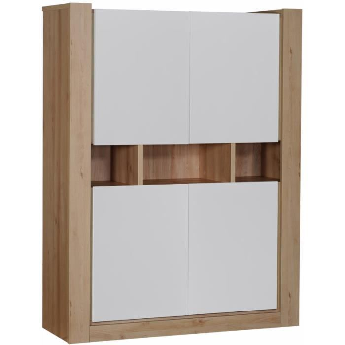 meuble de rangement 4 portes en bois et blanc achat. Black Bedroom Furniture Sets. Home Design Ideas