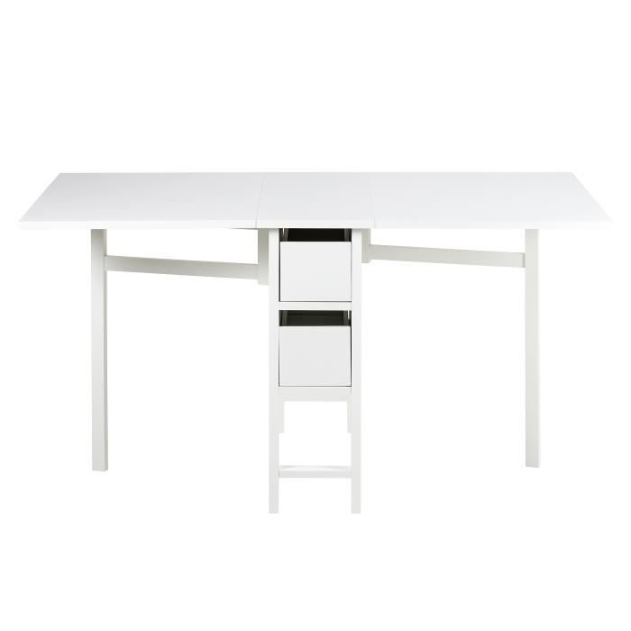 table multifonction pliable en bois blanc laqu av achat. Black Bedroom Furniture Sets. Home Design Ideas