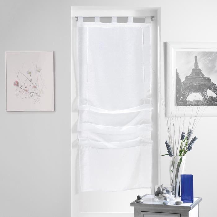 Douceur dInt/érieur  Store Forme Droite Voile Polyester Blanc//Noir 180 x 45 cm
