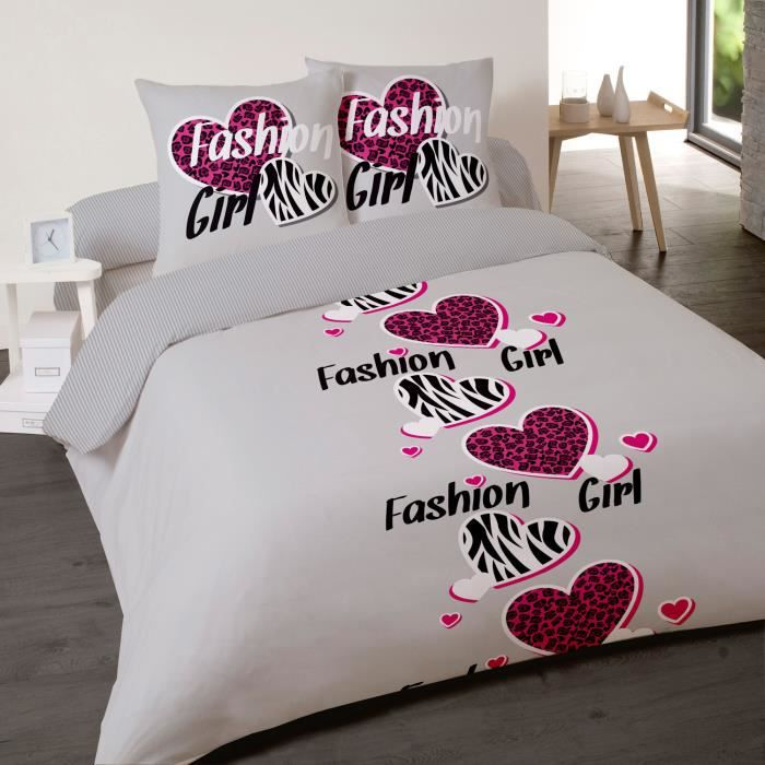 housse de couette fashion girl 220x240 et 2 tai achat. Black Bedroom Furniture Sets. Home Design Ideas