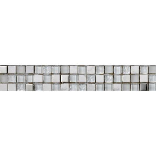 CARRELAGE - PAREMENT Listel en pate de verre et pierre naturelle Lagon