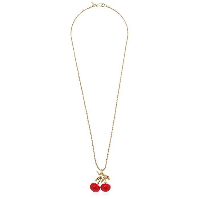Kenneth Jay Lane Gold Chain And Red Cherry Necklace, 15.5 DN4GI