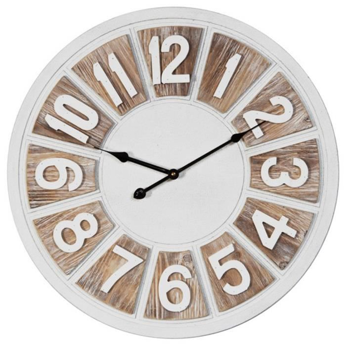 Horloge Murale Bois Nature Beige Blanc Vintage 50 Cm Q2076 Achat Vente Horloge Pendule Cdiscount