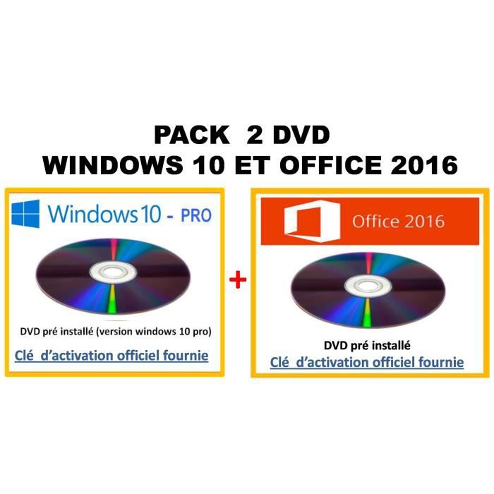 pack 2 dvd windows 10 et office 2016 prix pas cher soldes cdiscount. Black Bedroom Furniture Sets. Home Design Ideas