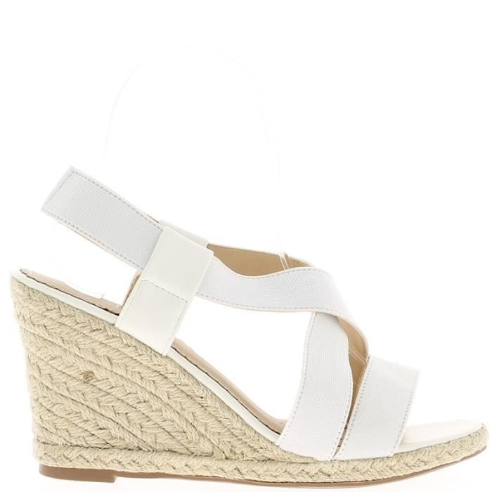 espadrilles compens es blanches talons de 9 5cm avec. Black Bedroom Furniture Sets. Home Design Ideas