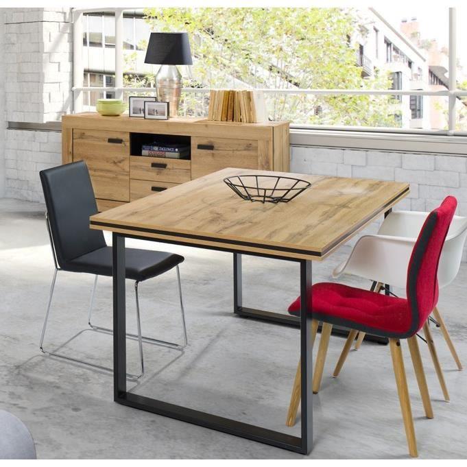 cmPlateau effet en métal salle à bois et noir90 pour MALAGA180 Table Marron manger pieds naturel wXO80Pkn