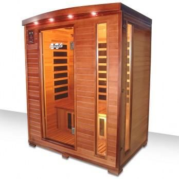 Sauna infrarouge 3 places cedarwarm 153x125 achat for Sauna infrarouge exterieur