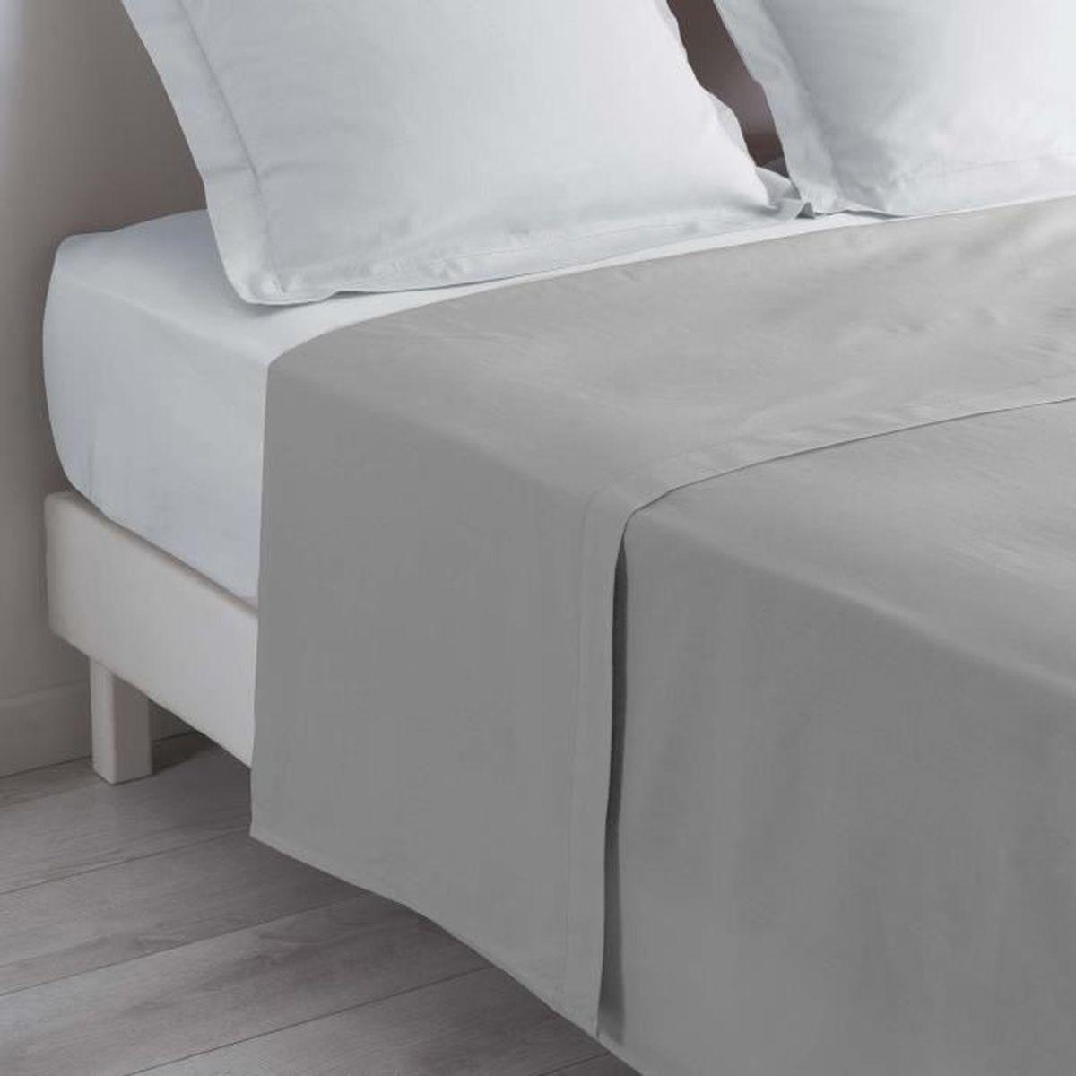 LOVELY HOME Drap Plat 100/% coton 240x300 cm noir