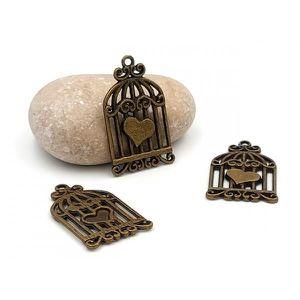 Perles 20 Breloques Bronze Cage avec Coeur