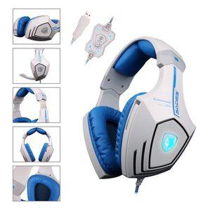 CASQUE AVEC MICROPHONE Sades A60 Over-Ear USB Casque Gaming Gamer Headset