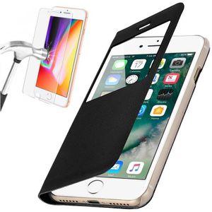 COQUE - BUMPER Coque iPhone 6-6S Rabat Clapet Fenêtre Noir + Verr