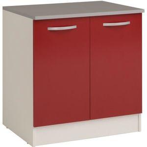BUFFET DE CUISINE Meuble bas de cuisine avec 2 portes coloris rouge