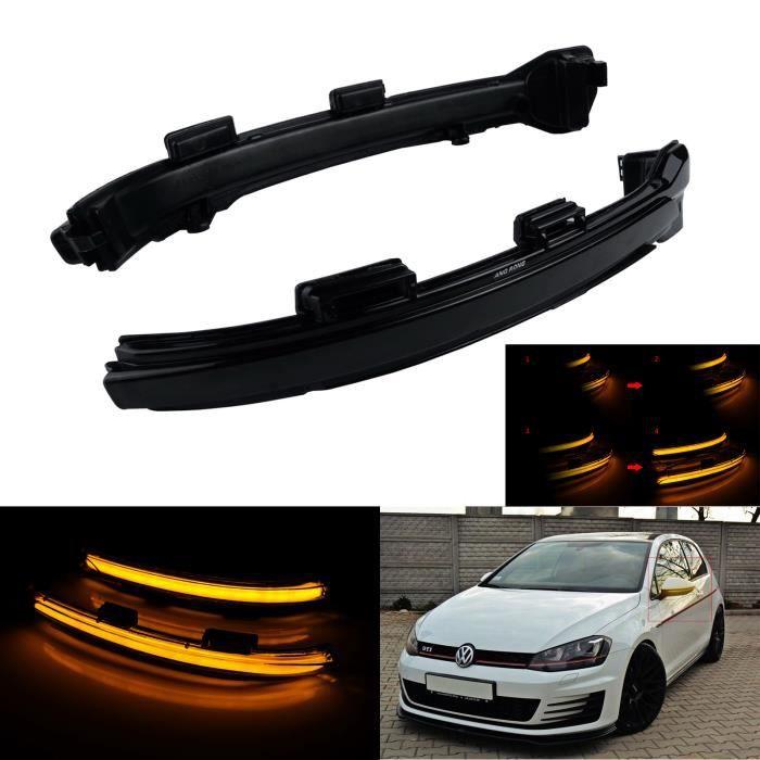 ANGRONG Dynamique LED Rétroviseur Miroir Clignotant lentille Noir Pour VW Golf VII MK7 GTI R Sportsvan (AM1) Touran 5T