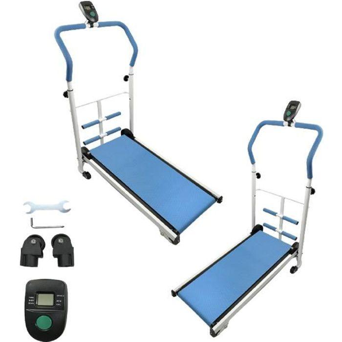 Tapis de marche Fitness Bleu, Tapis de course mécanique avec barre de sit-up - écran LCD