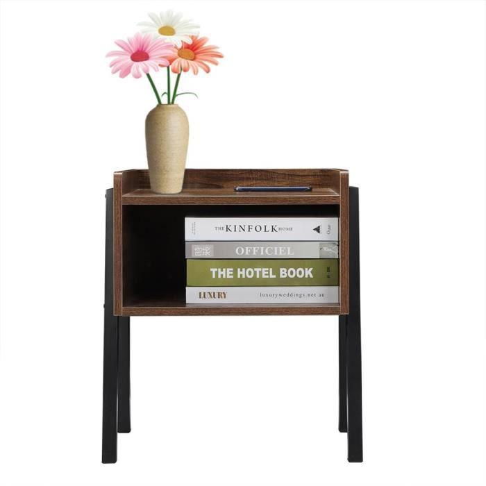 Table basse salon en bois table basse carré table chevet vintage avec Compartiment Table d'Appoint Rétro Pieds en Métal-DBA