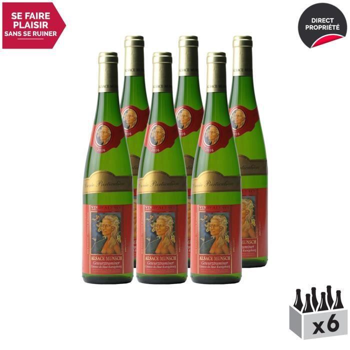 Alsace Gewurztraminer Cuvée Particulière Blanc 2016 - Lot de 6x75cl - Alsace Munsch - Vin AOC Blanc d' Alsace - Cépage
