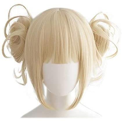 20pcs Perruques de Cosplay pour My Hero Academia, Perruque Cheveux Avec Chignons Courts (Himiko Toga)