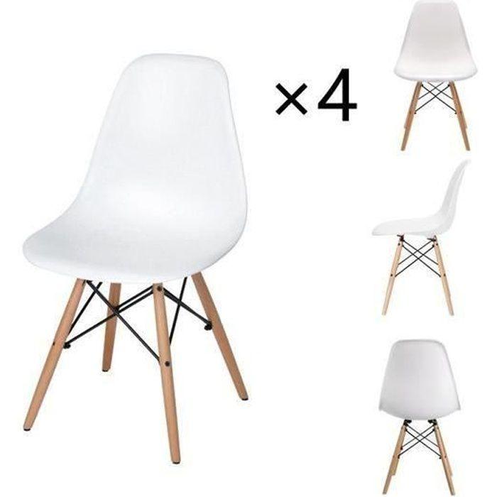 DORAFAIR Lot de 4 chaises scandinave design tendance rétro bois chaise de salle à manger - Blanches