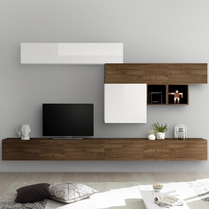 Meuble TV suspendu blanc laqué et couleur noyer GALATINA Marron L 275 x P 300 x H 200 cm