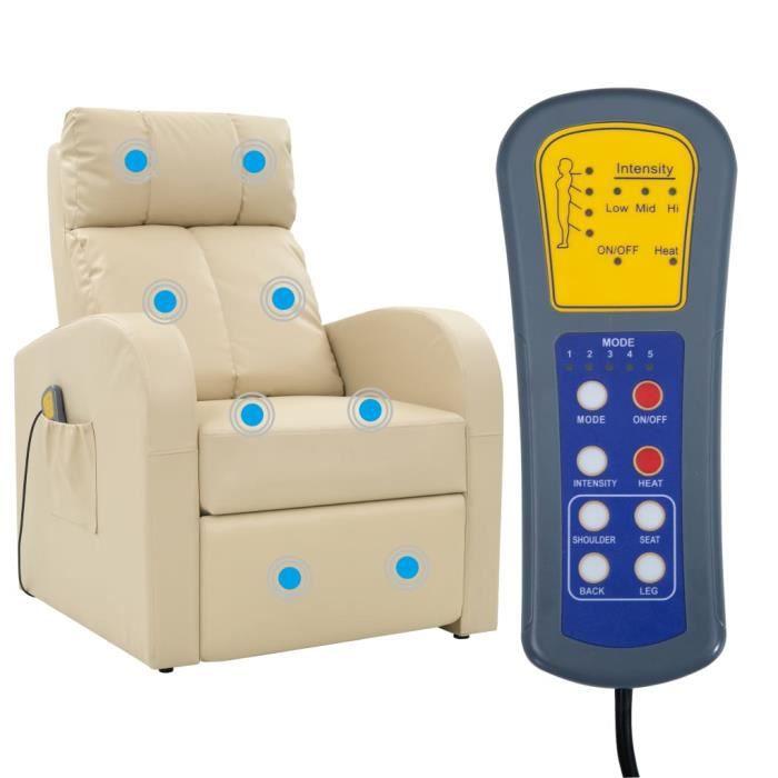 Fauteuil de massage électrique avec télécommande 75 x 85 x 107 cm -Couleur crème Fauteuil canapé sofa relaxation massant☺7450