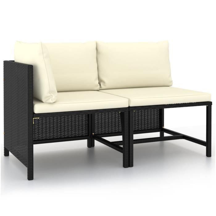 Mobilier de balcon Salon de jardin 2 pcs avec coussins Noir Résine tressée 9550