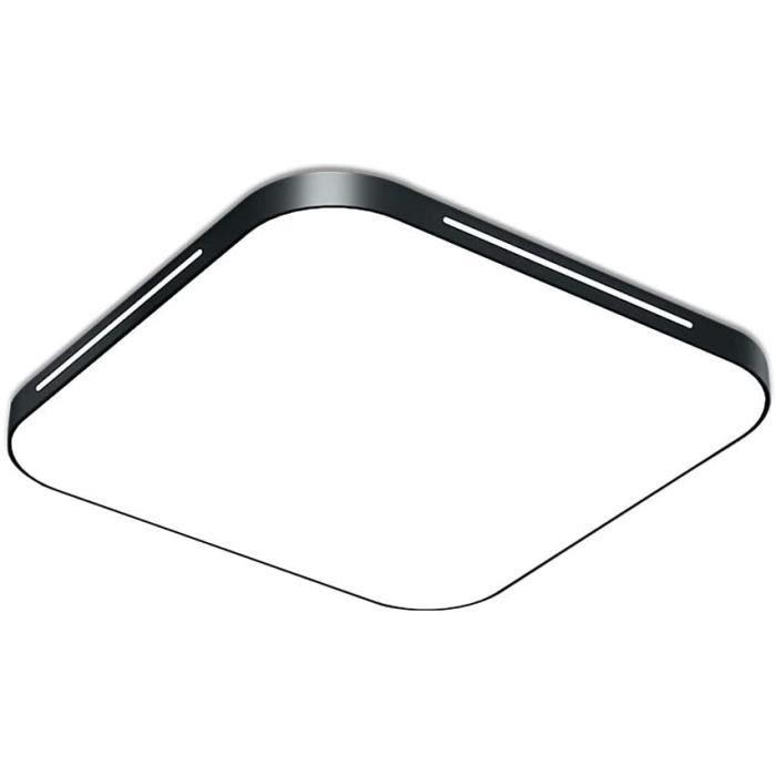 Fscm Plafonnier LED 64 W - Moderne - 6000-6500 K - Blanc froid - Pour couloir, salon, chambre, cuisine - En m&eacutetal noir -507