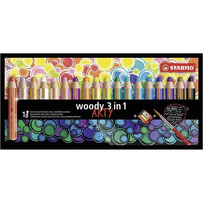Loisirs Créatifs STABILO Woody 3 en 1 - Crayon aquarellable, crayon de couleur et craie grasse 18er Pack mit Spitzer und 961