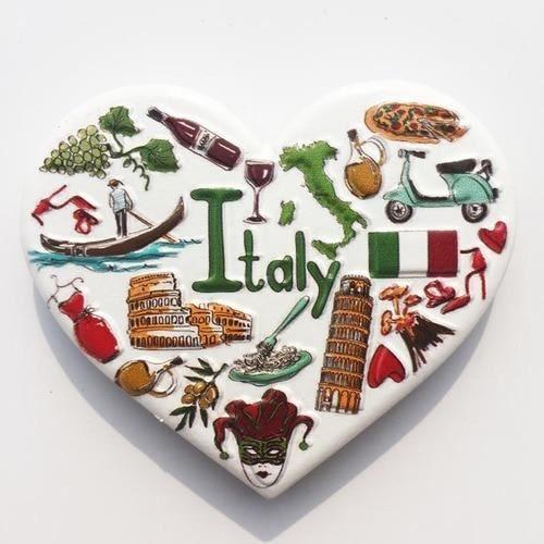 Décoration murale,Monde touristique réfrigérateur aimants Souvenir états unis grande bretagne allemagne France italie - Type Italy