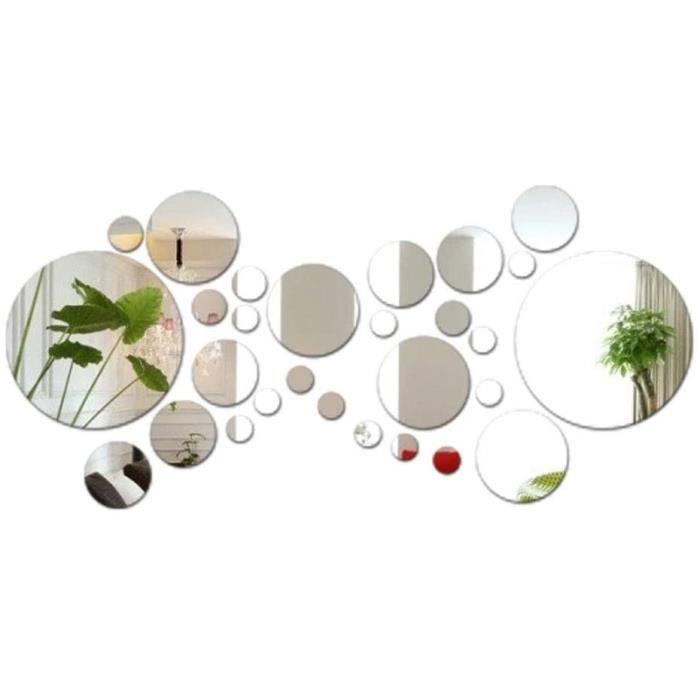 28pcs Stickers Muraux Miroirs Rond Décoratifs Cercle Miroir Autocollant 3D Acrylique Deco Mural Amovible pour Salon Chambre Mai 938