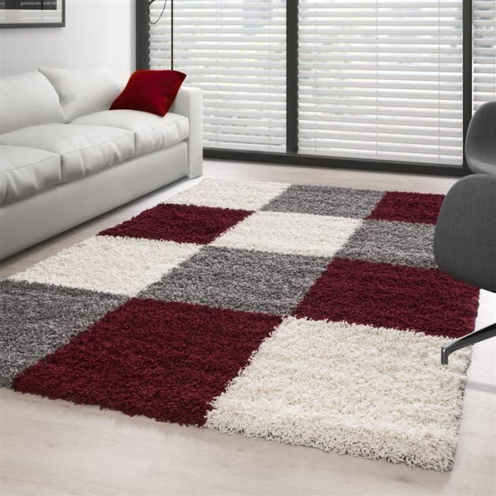 Tapis Shaggy pile longue à carreaux plusiuers couleurs et tailles au choix (120x170 cm - Rouge-Blanc-Gris)