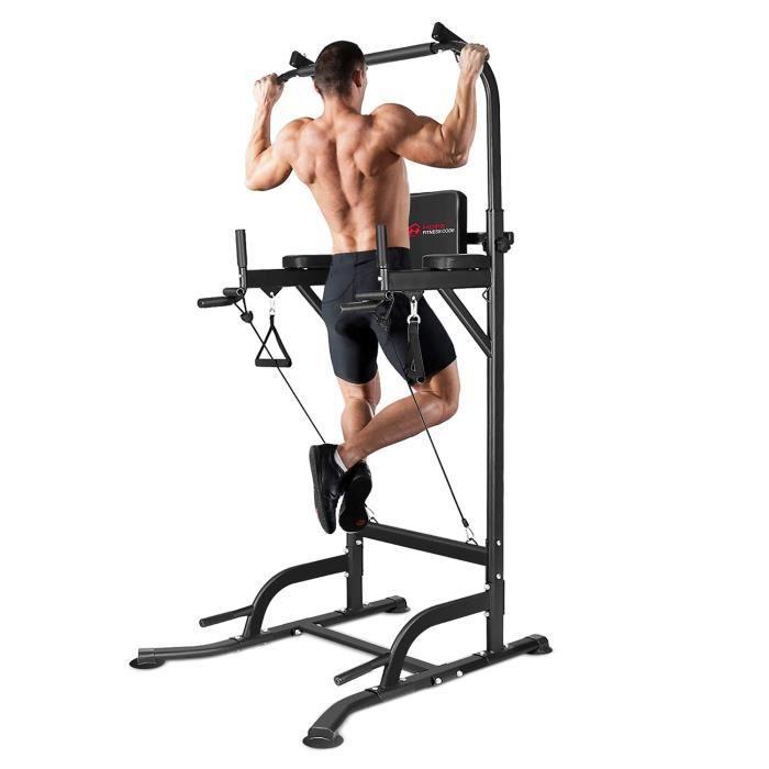 Bigzzia Pullup Barre de traction ajustable musculation dips station - Power Tower Barre de Traction pour Musculation à Domicil 150kg