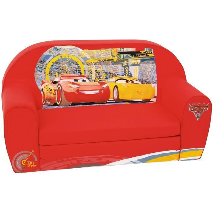 CARS Canapé convertible gonflable pour enfant - 2 places - Cars 3 Flash Mc Queen - Rouge - DISNEY
