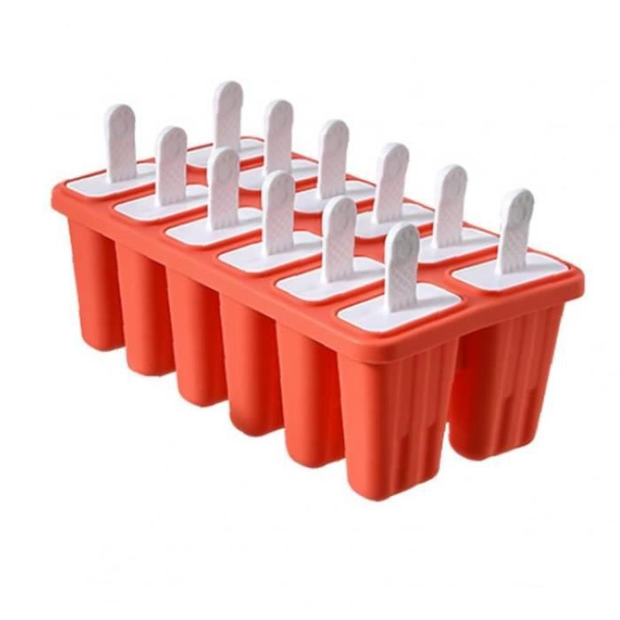 Ice Cream moule Ice Lolly modèle Plateau silicone 12 cupules réutilisable Cuisine Rouge