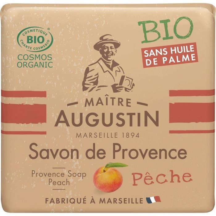 Le savon de Provence Bio Pêche MAITRE AUGUSTIN nettoie votre peau tout en douceur.