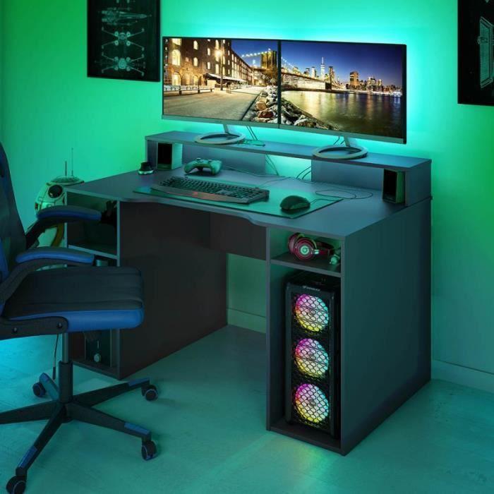 Bureau Gaming OZIS 136 cm. Bureau Ergonomique pour Jeux-Video et télétravail. Couleur Gris
