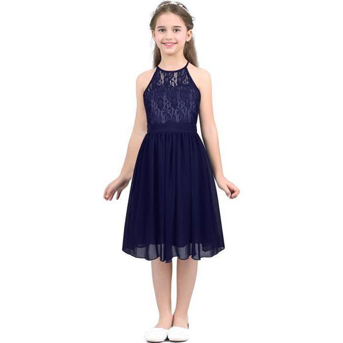 Enfant Fille Robe de Soirée Cocktail Dentelle Fleur Costume de Cérémonie 4-14 Ans Bleue Marine