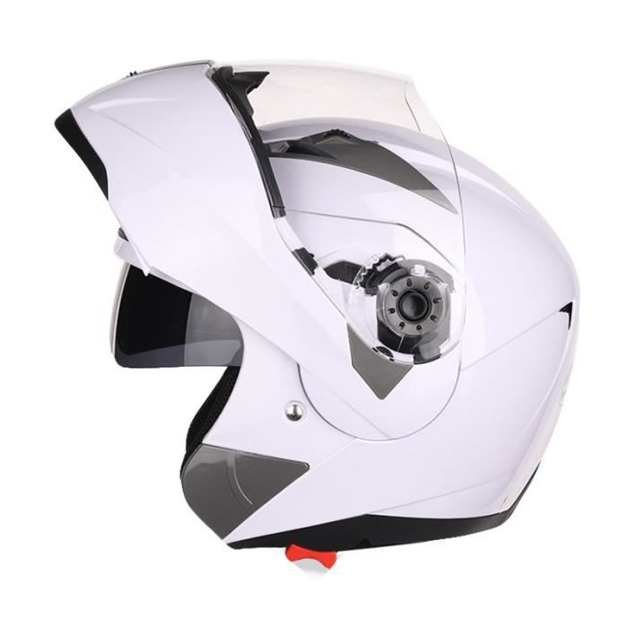 Casque Moto double lentille casques de anti-poussière sécuritaire Mode Cou Protection Ventilation Casque universel quatre saisons