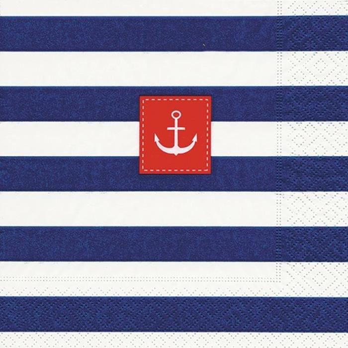 PAPER DESIGN - 20 Serviettes 33x33 cm - Sailor stripes