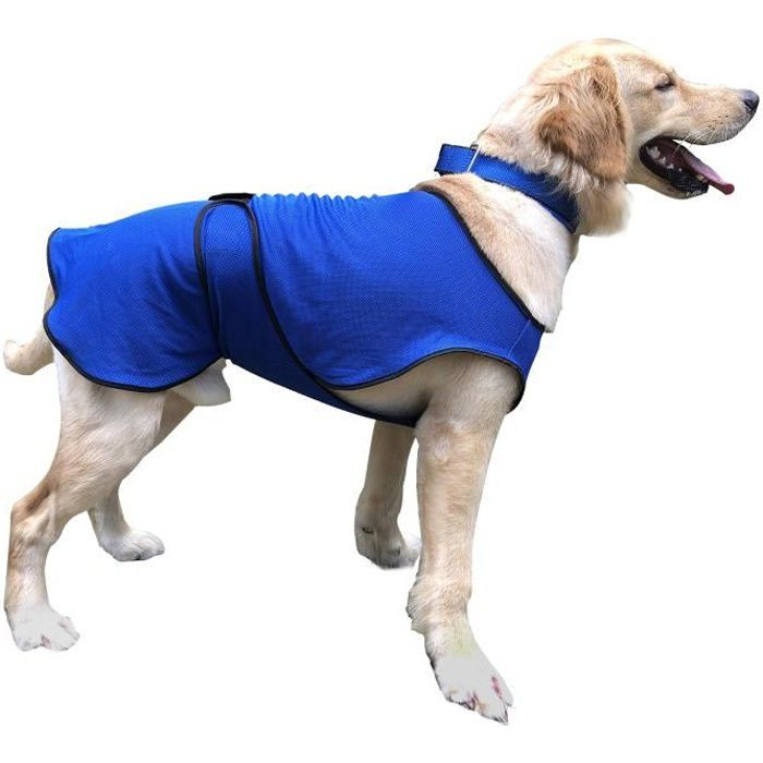Manteau rafraîchissant pour chien manteau d'été taille L polyester bleu