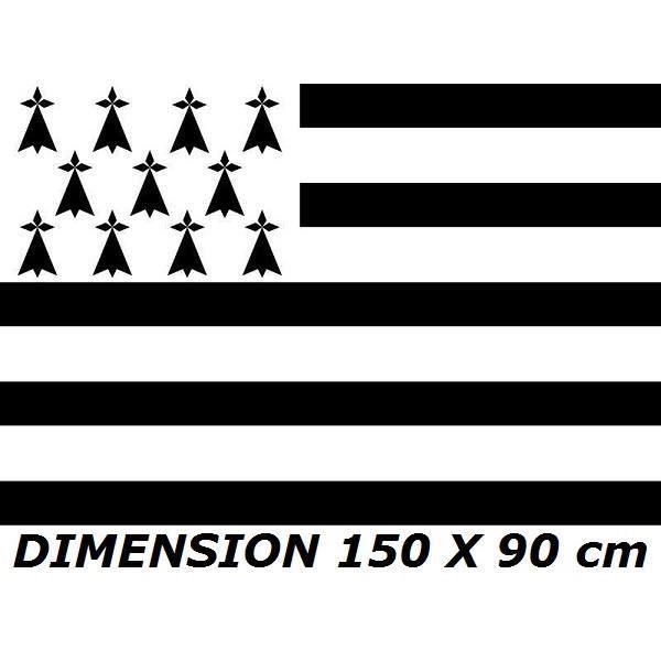 DRAPEAU 150 X 90 cm BRETAGNE BRETON BREIZH FRANCE PAVILLON PROVINCE FRANCAISE No livre carte poster fanion casquette ...